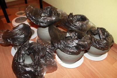 сушим глиняные изделия под пакетом